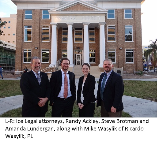 Ice Legal attorneys, Randy Ackley, Steve Brotman and Amanda Lundergan, along with Mike Wasylik of Ricardo Wasylik, PL